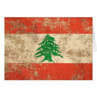 Rough Aged Vintage Lebanese Flag Greeting Cards