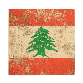 Rough Aged Vintage Lebanese Flag Maple Wood Coaster