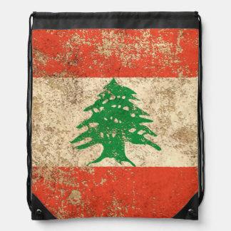 Rough Aged Vintage Lebanese Flag Rucksack