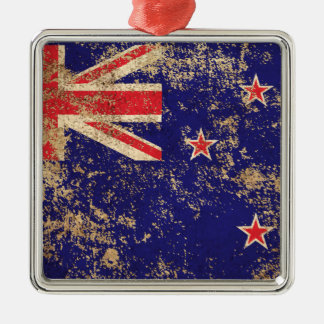 Rough Aged Vintage New Zealand Flag Christmas Tree Ornaments