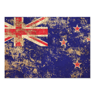 Rough Aged Vintage New Zealand Flag Announcement Card