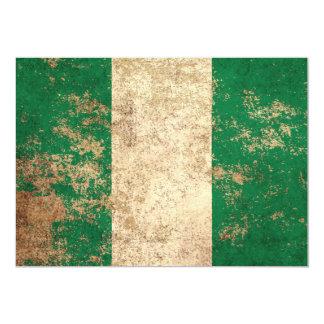 Rough Aged Vintage Nigerian Flag 13 Cm X 18 Cm Invitation Card
