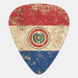 Rough Aged Vintage Paraguay Flag Guitar Pick