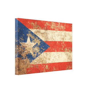 Rough Aged Vintage Puerto Rico Flag Gallery Wrapped Canvas