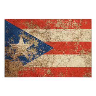 Rough Aged Vintage Puerto Rico Flag Posters