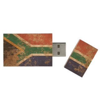 Rough Aged Vintage South African Flag Wood USB 2.0 Flash Drive