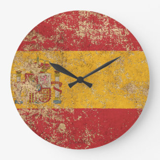 Rough Aged Vintage Spanish Flag Large Clock