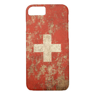 Rough Aged Vintage Swiss Flag iPhone 7 Case