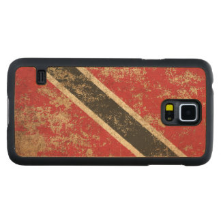 Rough Aged Vintage Trinidad and Tobago Flag Carved Maple Galaxy S5 Case