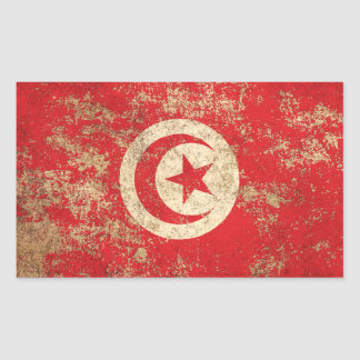 Rough Aged Vintage Tunisian Flag Stickers