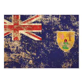 Rough Aged Vintage Turks and Caicos Flag Announcement Cards