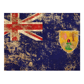 Rough Aged Vintage Turks and Caicos Flag Postcard