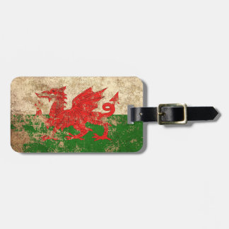 Rough Aged Vintage Welsh Flag Luggage Tag
