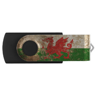 Rough Aged Vintage Welsh Flag USB Flash Drive