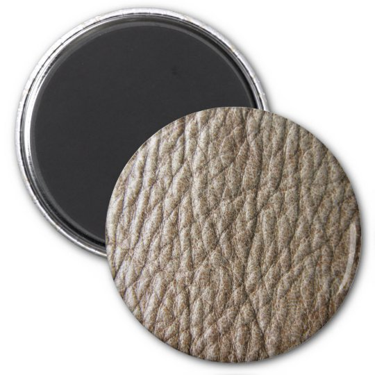 Rough brown faux leather texture, lots of creases 6 cm round magnet
