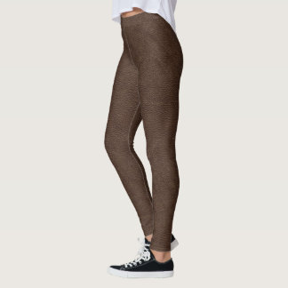 Rough Brown Leather Print Leggings