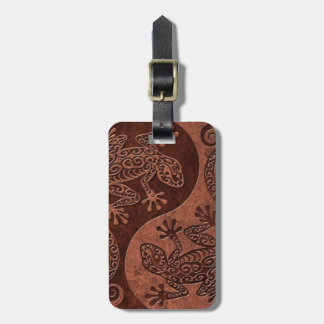 Rough Brown Stone Yin Yang Geckos Luggage Tag