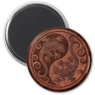 Rough Brown Stone Yin Yang Geckos Magnet