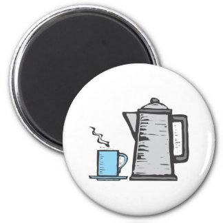Rough Coffee Pot and Mug 6 Cm Round Magnet