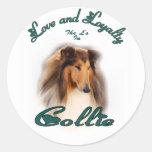 Rough Collie Art Gifts Round Sticker