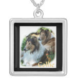 Rough Collie Art Gifts Square Pendant Necklace