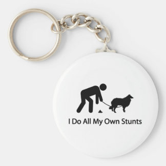 Rough Collie Basic Round Button Key Ring