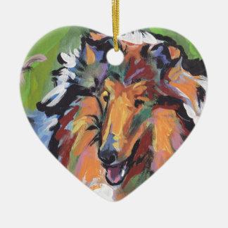 Rough Collie Bright Pop Dog Art Christmas Ornament