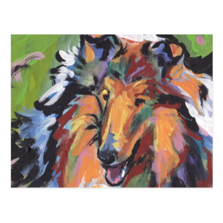Rough Collie Bright Pop Dog Art Postcard