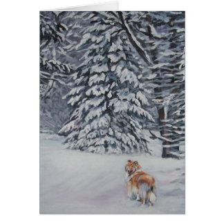 Rough Collie Christmas Card