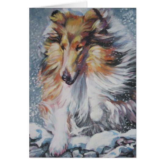 Rough Collie Christmas card