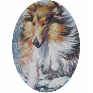 rough collie Christmas Ornament Photo Sculpture Decoration