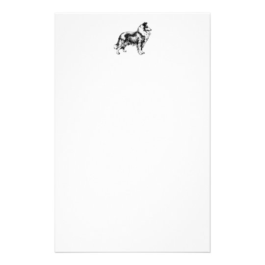 Rough Collie dog beautiful illustration stationery