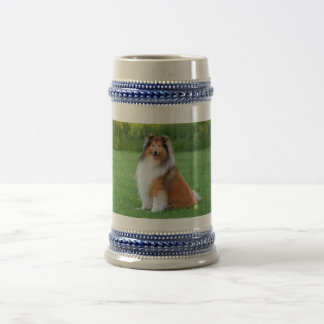 Rough Collie dog beautiful photo tankard, stein