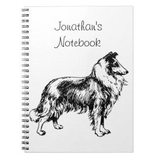 Rough Collie dog illustration custom boys name Notebook
