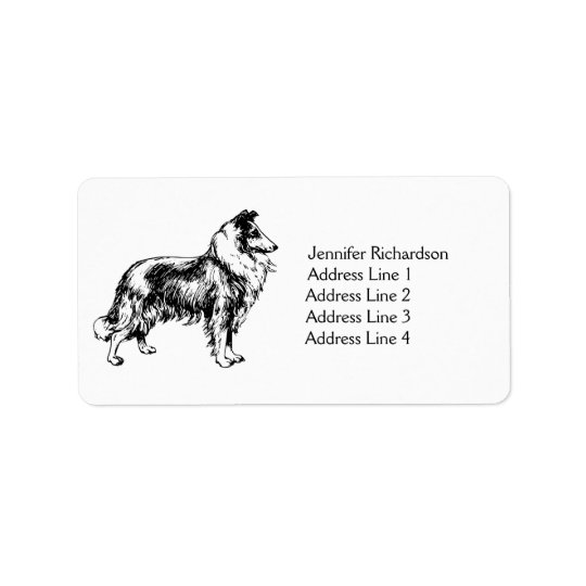 Rough Collie dog personalised custom address label