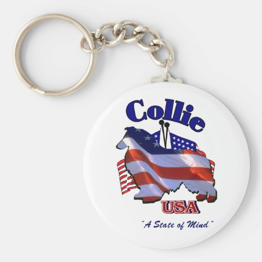 Rough Collie Gifts Basic Round Button Key Ring