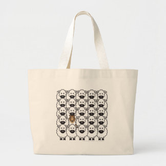 Rough Collie in the Sheep Large Tote Bag