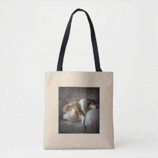 Rough collie on armchair tote bag