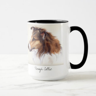 Rough Collie Painted in Watercolour Mug