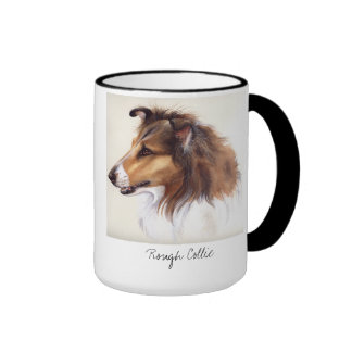 Rough Collie Painted in Watercolour Ringer Mug