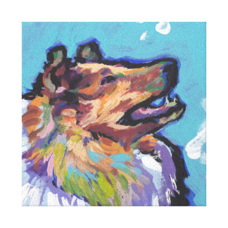 Rough Collie Pop Art on Stretched Canvas Gallery Wrapped Canvas