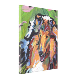 Rough Collie Pop Dog Art on Gallery Wrapped Canvas