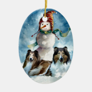 Rough Collie with Snowman Christmas Christmas Ornament