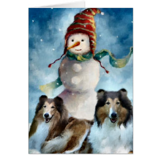 Rough Collie with Snowman Christmas Greeting Card
