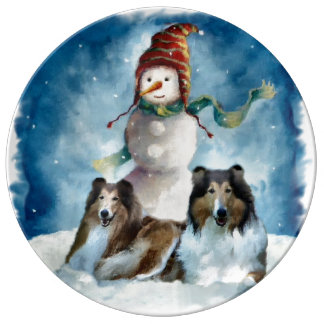 Rough Collie with Snowman Christmas Plate