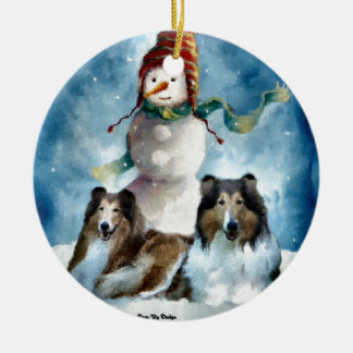 Rough Collie with Snowman Christmas Round Ceramic Decoration