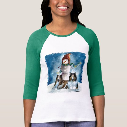 Rough Collies with Snowman Christmas T-Shirt