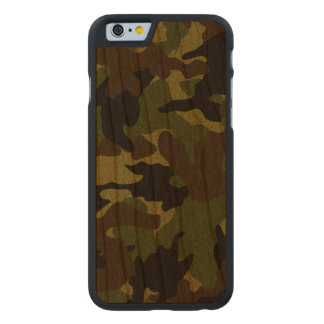 Rough Green Camo Military Wood Grain iPhone 6 6S Carved Cherry iPhone 6 Case