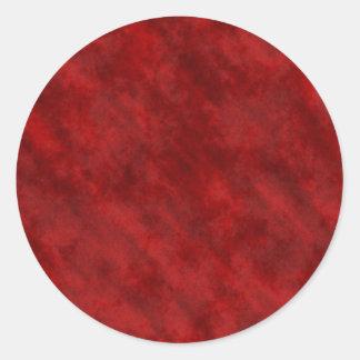 Rough Grungy Velvet Texture: Deep Blood Red Round Sticker