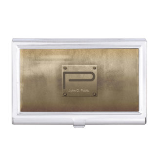 Rough Metal Plate Bronze ID327 Business Card Holder